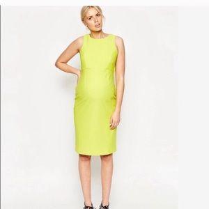 ASOS Maternity Chartreuse Open Back Dress